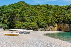 Piękni Megie Ammos wyrzucać na brzeg przy Syvota, Grecja Obraz Royalty Free
