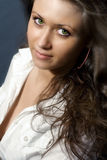 piękni oczy zielenieją jeden zmysłowej kobiety Zdjęcia Stock