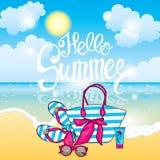 Piękni okulary przeciwsłoneczni na plaży i morzu również zwrócić corel ilustracji wektora Cześć lato! royalty ilustracja