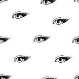 Piękni otwarci żeńscy oczy z długimi rzęsami odizolowywają na białym tle Dla projekta bezszwowy wzór Zdjęcie Stock