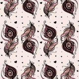 Piękni pawi piórka Bezszwowy tło Fotografia Royalty Free