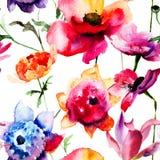 Piękni peoni i maczka kwiaty Fotografia Royalty Free