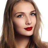 piękni piękna kosmetyki mody włosianych haircare fryzury zdrowie długo robią wellness wzorcowej błyszczącej prostej kobiety beaut obraz stock