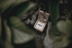 Piękni pierścionki zaręczynowi i buty fotografia stock