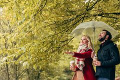 piękni potomstwa dobierają się mienie kawę i parasol iść Zdjęcie Stock