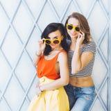 Piękni potomstwa dobierają się modnej dziewczyny blondynki, brunetki w jaskrawej kolor żółty sukni, okularach przeciwsłonecznych  Zdjęcie Royalty Free