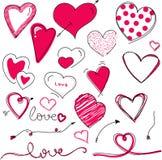 Piękni ręka rysującego valentine dnia serca wektorowi ilustracji