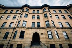 Piękni rzędów domy w Bolton wzgórzu, Baltimore, Maryland obrazy royalty free