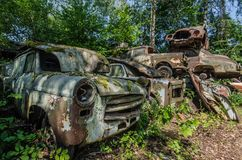 piękni samochody na junkyard fotografia royalty free