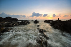Piękni seascape widoki podczas wschodu słońca przy południowym chińskim morzem Zdjęcie Stock