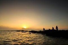 Piękni seascape widoki podczas wschodu słońca przy południowym chińskim morzem Obrazy Stock