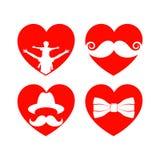 Piękni serca dla kart z brodą, wąsami, kapeluszami i okularami przeciwsłonecznymi, dzień ojciec s royalty ilustracja