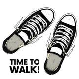 Piękni sneakers Wektorowa ilustracja dla plakata lub obrazka Młodość buty Sporty, bieg i odprowadzenie, Zdjęcie Stock