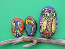 Piękni sowa ptaki malujący na kamieniu Obrazy Stock