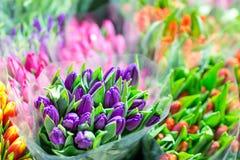 Piękni stubarwni kwiatów bukiety Różnorodni świezi tulipany przy kwiatu sklepem Hurtowy lub detaliczny kwiatu sklep Roślina magaz obraz royalty free