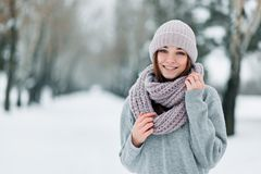 Piękni uśmiechnięci dziewczyna stojaki na drodze w pulowerze w zimie i kapeluszu fotografia stock