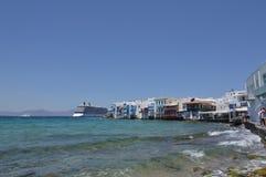 Piękni widoki sąsiedztwo Mały Wenecja Z Swój Idilicos restauracjami W Chora wyspie Mikonos Arte historia Archit fotografia stock
