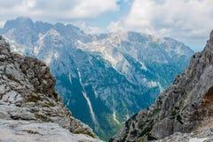 Piękni widoki Triglav park narodowy - Juliańscy Alps, Slovenia Zdjęcie Stock