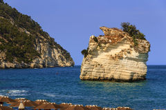 Piękni wybrzeża Włochy: Baia dei Mergoli plaża (Apulia) Zdjęcie Stock
