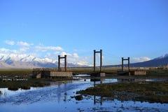 Piękni Złoci obszary trawiaści z rzeką w Tashkurgan z śniegiem zakrywali góry, Xinjiang, Chiny zdjęcie stock