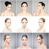 Piękni, zdrowi i młodzi żeńscy portrety inkasowi, Kolaż różne kobiet twarze Twarz udźwig, skincare, plastikowy surger zdjęcie royalty free
