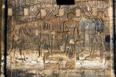 Pięknie dekorująca ściana wystawia rytownictwa i hieroglify przy świątynią Kom Ombo w Egipt Obraz Royalty Free