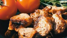 Pięknie dekorujący naczynie z kawałkami smażącymi na ogieniu, pomidorach i zieleniach stek, Mięsny grill lub shish kebab zbiory