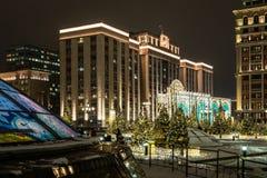 Pięknie dekorujący plac czerwony dla nowego roku i Moskwa i zdjęcie stock