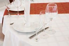 Pięknie uorganizowany wydarzenie - słuzyć round stołu zakończenie Fotografia Stock