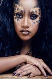 Piękno afro dziewczyna z kotem uzupełniał, kreatywnie Zdjęcie Royalty Free