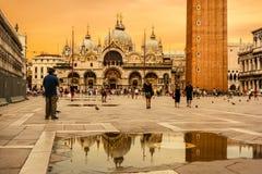 Piękno bazylika Di San Marco w złotej godzinie, piazza S obrazy stock