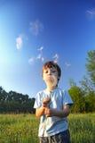 Piękno chłopiec z dandelion Obraz Stock