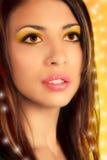 Piękno dziewczyna Close-up portret, kolaż zdjęcia stock