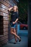 Piękno dziewczyna pozuje modę blisko czerwonego ściana z cegieł na ulicie Zdjęcia Stock