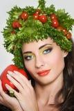 Piękno dziewczyna z warzywo włosianym stylem zdjęcie stock