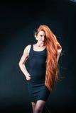 Piękno dziewczyny imbirowy portret Zdrowy Długi Czerwony Włosy Piękny yo zdjęcia stock