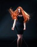 Piękno dziewczyny imbirowy portret Zdrowy Długi Czerwony Włosy Piękny yo zdjęcie royalty free