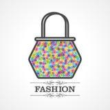 Piękno i mody ikona z torebką Zdjęcia Royalty Free