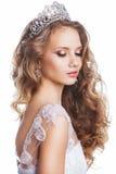 Piękno kobieta z ślubną fryzurą i makeup Zdjęcia Royalty Free