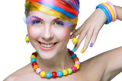 Piękno kobieta z jaskrawym makeup fotografia royalty free