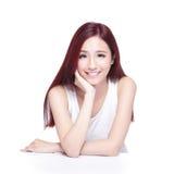 Piękno kobieta z powabnym uśmiechem Zdjęcia Stock