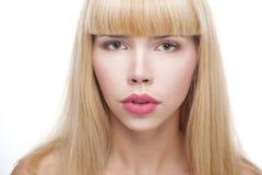 Piękno kobiety twarz z dużymi wargami fotografia royalty free
