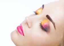 Piękno kobiety twarz z makijażem zdjęcia royalty free
