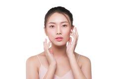 Piękno kobiety twarzy azjatykci portret z perfect świeżą czystą skórą Obraz Royalty Free