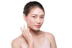 Piękno kobiety twarzy azjatykci portret z perfect świeżą czystą skórą Fotografia Royalty Free