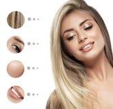 Piękno kobiety twarzy portret Piękna zdroju modela dziewczyna z perfect świeżą czystą skórą Młodości i skóry opieki pojęcie zdjęcie stock