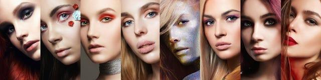 Piękno kolaż Kobiety Makeup, piękne dziewczyny obraz stock