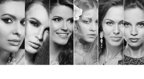 Piękno kolaż Twarze kobiety bedsheet moda kłaść fotografii uwodzicielskich białej kobiety potomstwa Zdjęcia Royalty Free