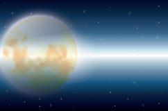Piękno księżyc w naturze, Wektorowy ilustracja krajobraz Obraz Stock