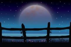 Piękno księżyc w naturze, Wektorowy ilustracja krajobraz Zdjęcia Stock